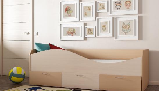 Кровать Кр-3 ЛДСП с ящиками (650*2030*850)