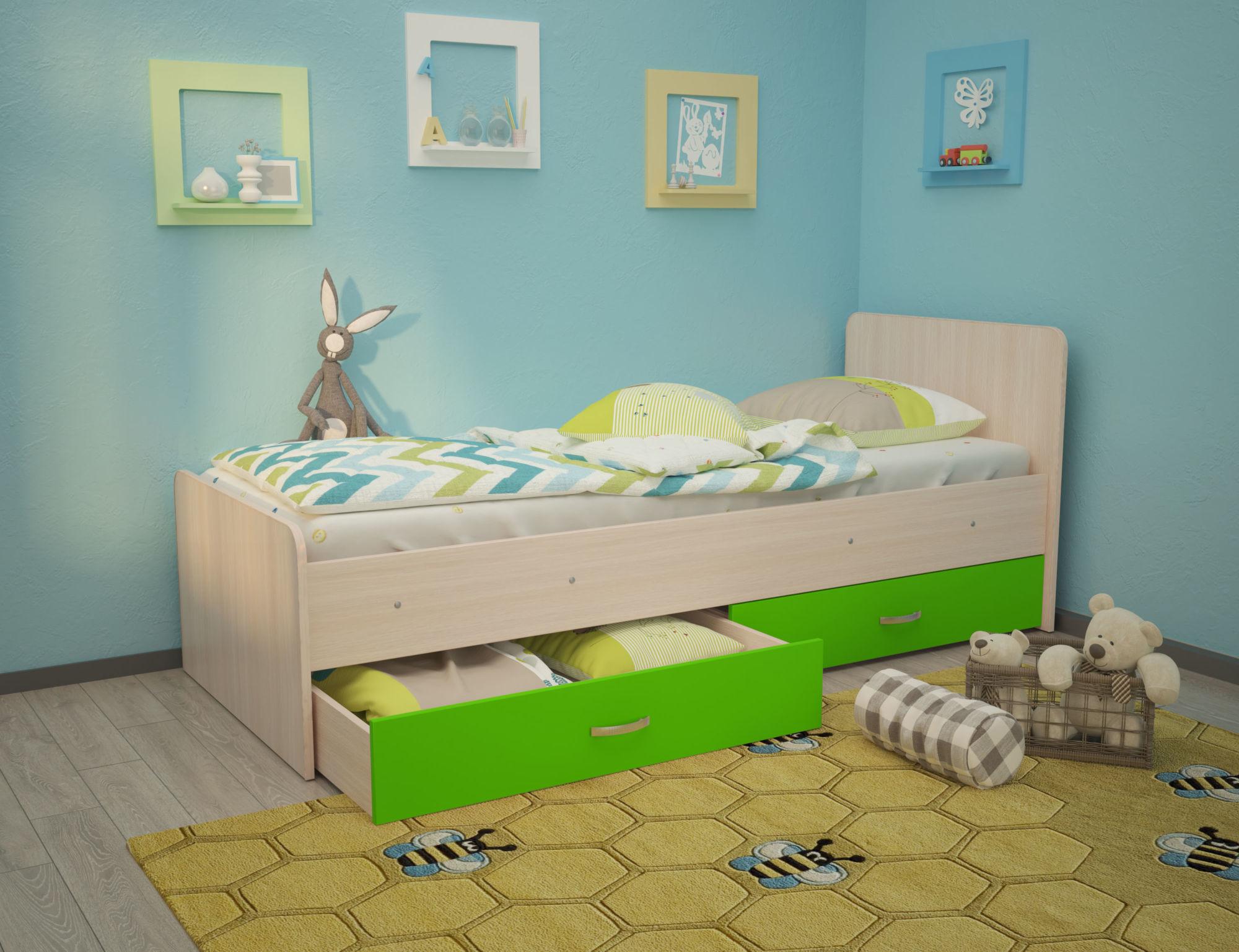 Кровать Антошка 1,90 с ящиками без бортика на щитах