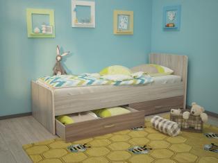 Кровать Антошка 1,90 с ящиками на щитах с бортиками