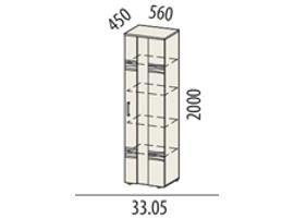 Мокко Шкаф-витрина большой 33.05