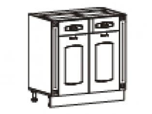 Стол с 2 ящиками с колоннами (без столешницы) 80х47х82  06.63.2