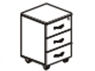 Тумба 3 ящика с замком 40х45х54 61.47/ 62.47